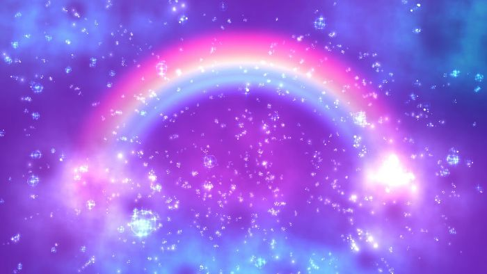 cute rainbow wallpaper digital drawing of rainbow on galaxy sky background white particles in the forefront
