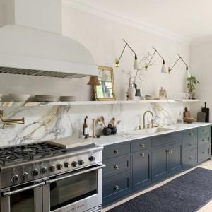 dark blue bottom cabinets marble backdrop long shelf open shelving kitchen ideas dark blue rug on the floor