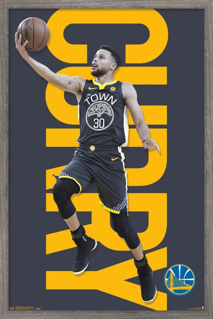 dark gray background curry written in large yellow letters stephen curry nba wallpaper photo of steph laying up the ball