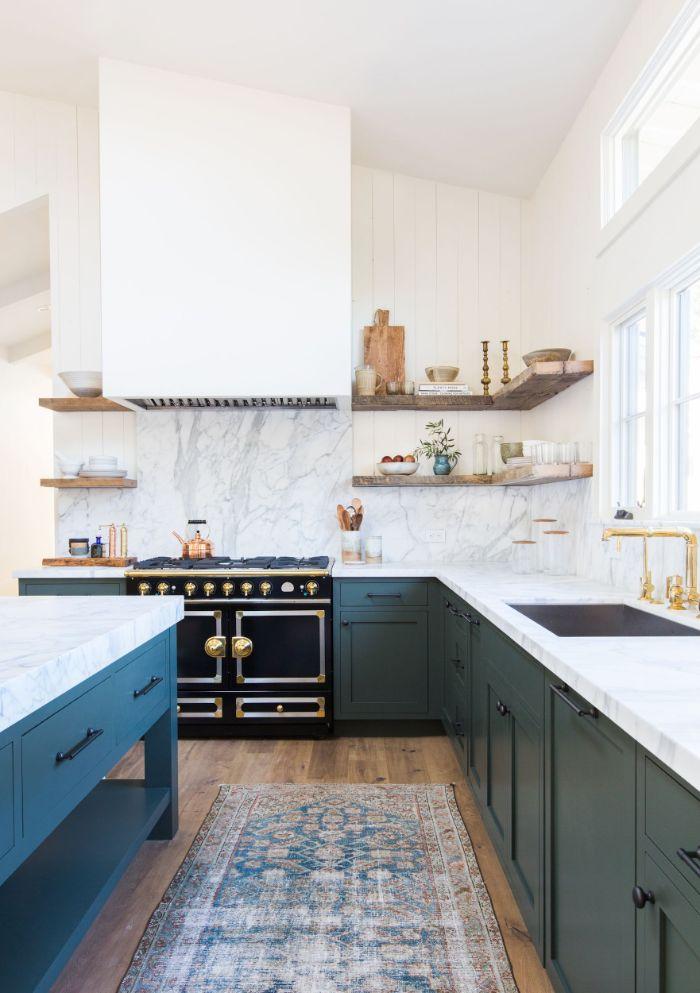 dark gray bottom cabinets black oven wood shelves marble backdrop wood floating shelves kitchen