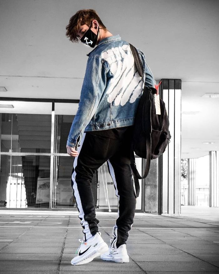 denim off white jacket black pants white nike air max sneakers streetwear style
