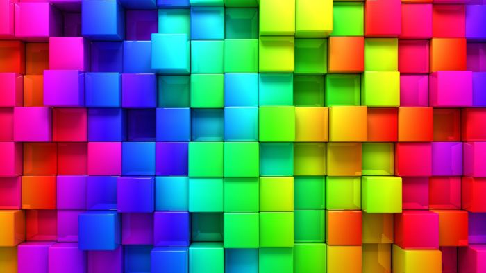digital drawing of cubes in all colors of the rainbow pastel rainbow wallpaper purple blue green orange red yellow