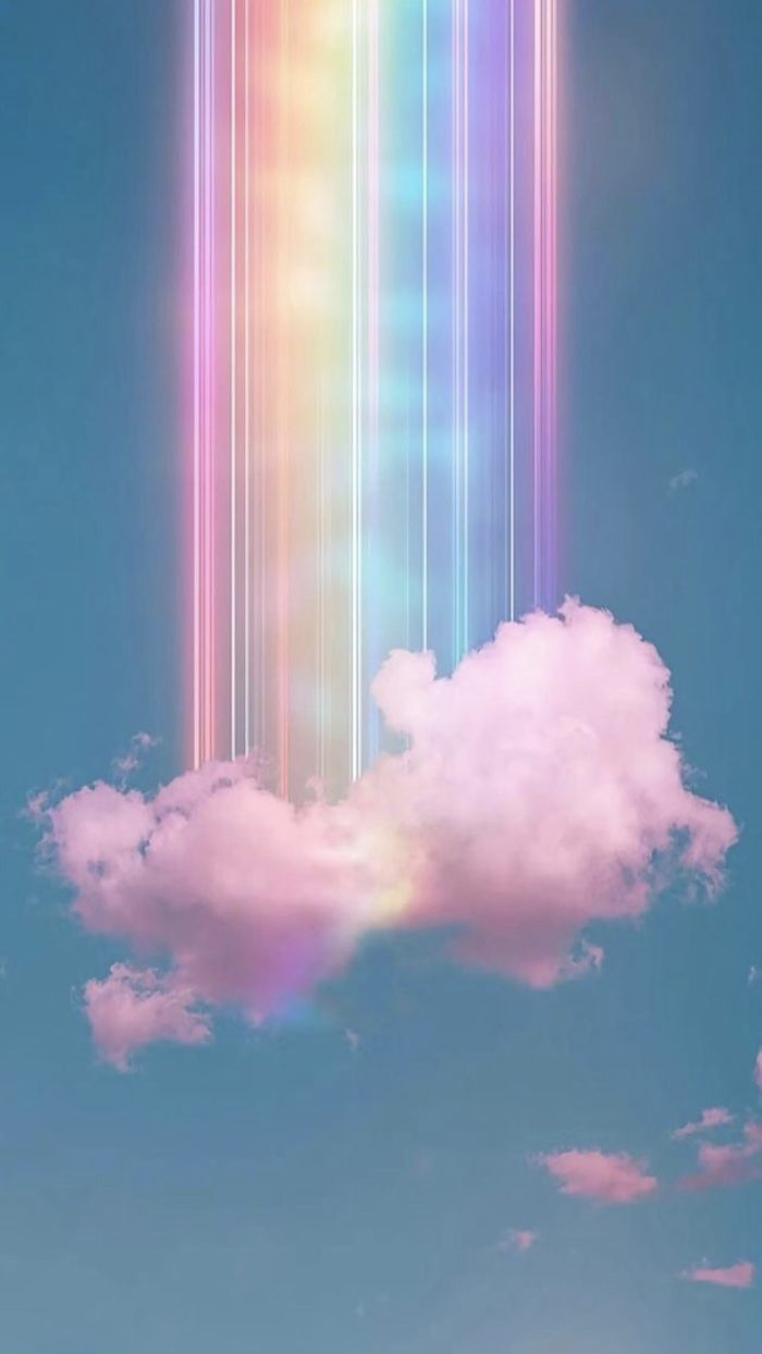 digital drawing of rainbow coming out of white cloud on blue sky cool rainbow backgrounds purple blue pink