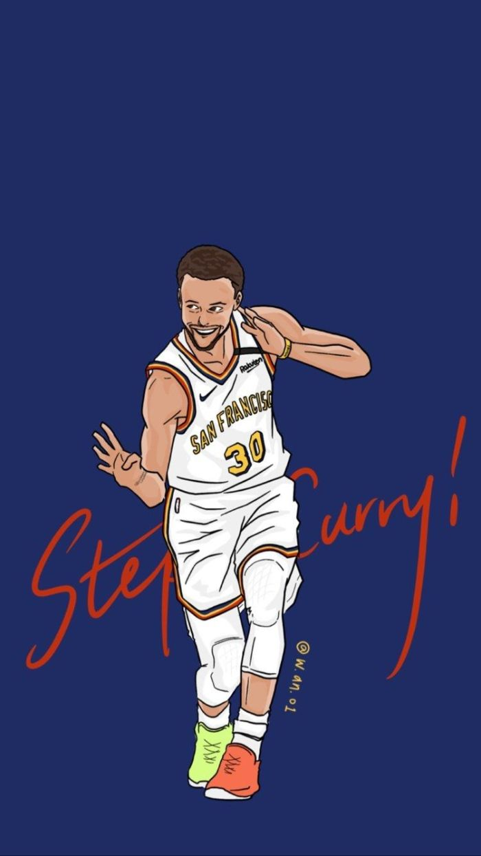 digital drawing of steph doing his four point celebration stephen curry wallpaper iphone blue background
