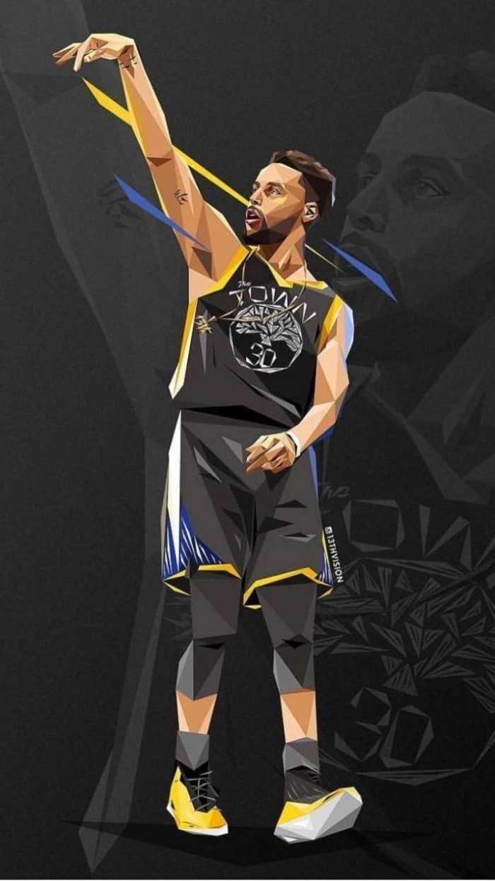 digital drawing of stephen curry wearing black warriors uniform basketball pictures wallpaper black background