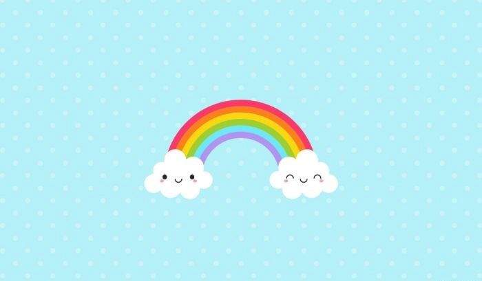 drawing of rainbow with two clouds at the end rainbow wallpaper light blue background with white dots