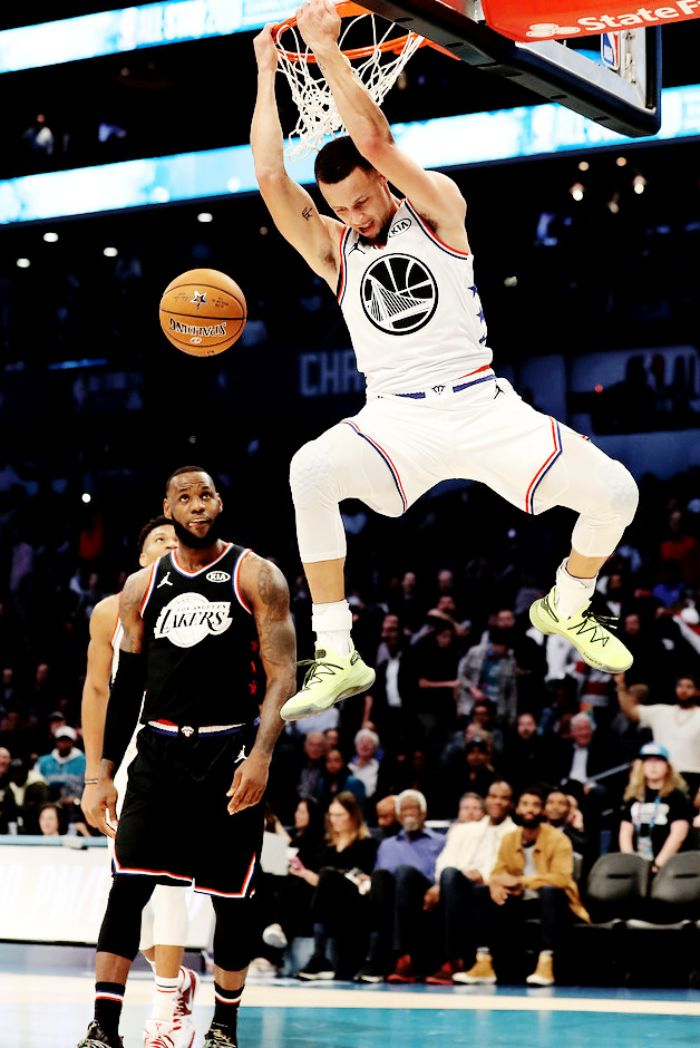 dunking at the all star game stephen curry golden state warriors wallpaper with lebron james