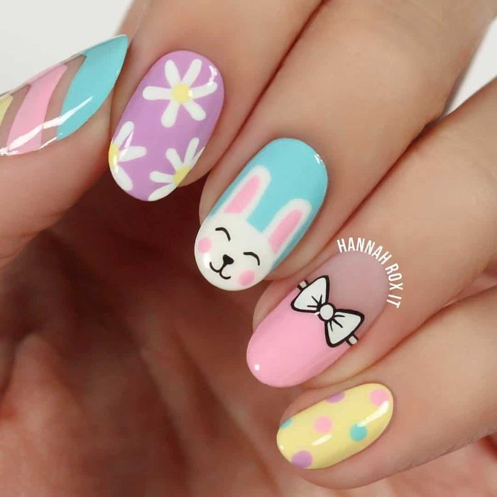 easter inspired nails in blue purple pink and yellow flower nail designs easter bunny and flowers decorations