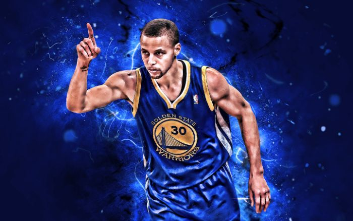 edit of digital photo of stephen curry wallpaper wearing blue warriors uniform blue background