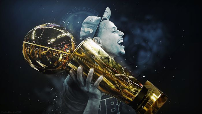 edit of steph curry holding larry o brien championship trophy golden state warriors wallpaper
