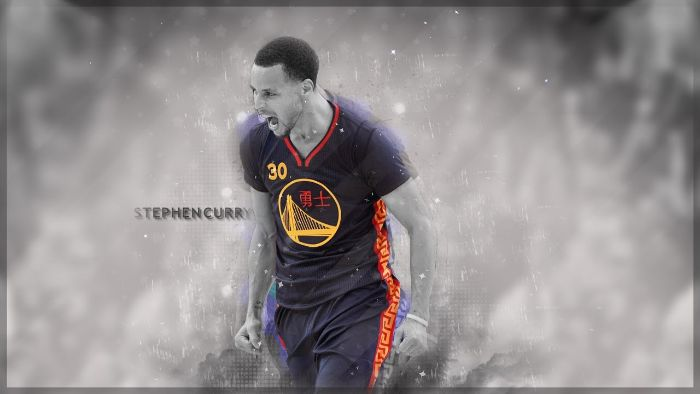 edit of steph wearing black golden state warriors uniform stephen curry background black and white background