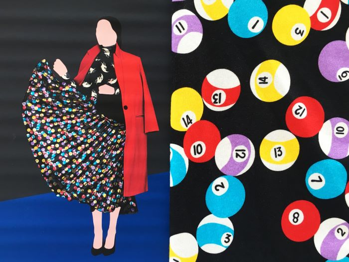 fabrics for suits side by side drawings of woman wearing red blazer long skirt with pool balls on it