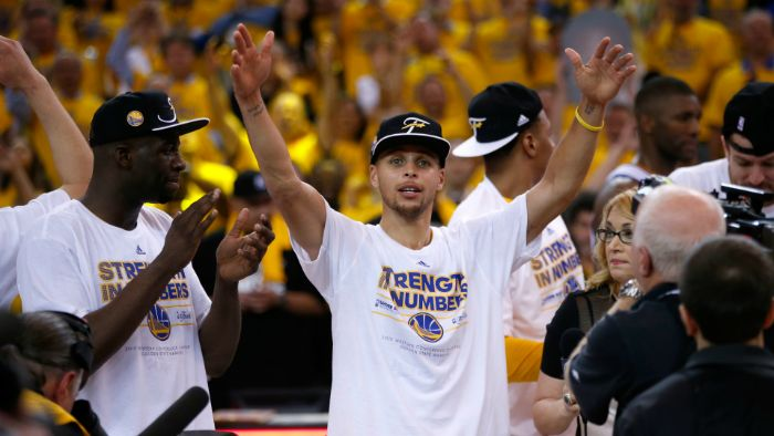 finals golden state warriors championship celebration stephen curry background draymond green