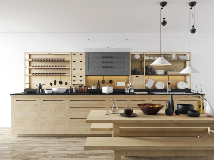 floating kitchen cabinets all wooden kitchen cabinets and dining table with black countertops