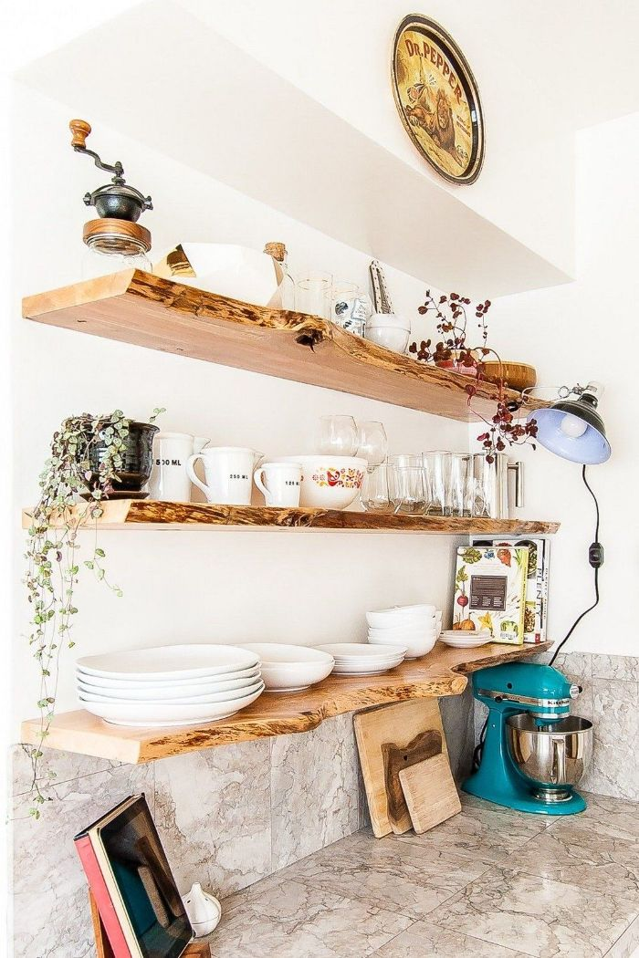 floating kitchen shelves natural wooden shelves above marble countertop with blue kitchen robot
