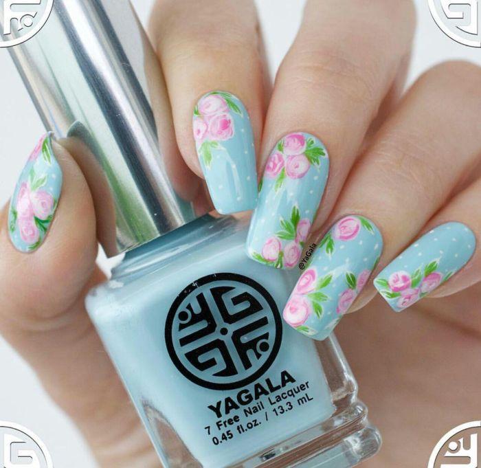 floral pink decorations on blue nail polish spring nail colors 2021 long square nails