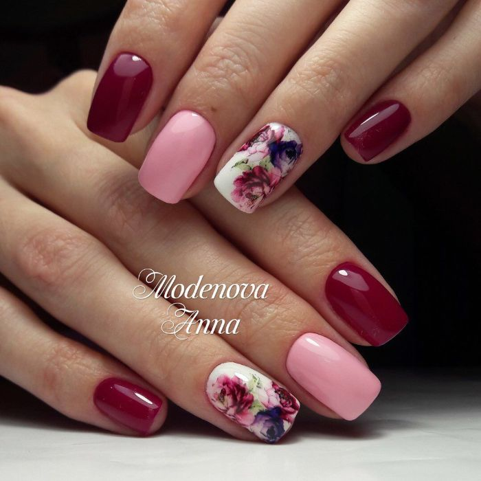 flowers decorations on ring fingers cute nail designs pink and red nail polish