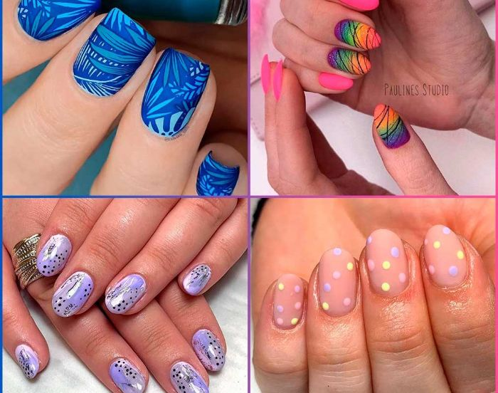 four side by side photos 2021 nail trends almond nails and squoval nails with different nail designs