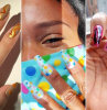 gold blue and pink nail polish bases simple nail ideas three side by side photos of different nail designs