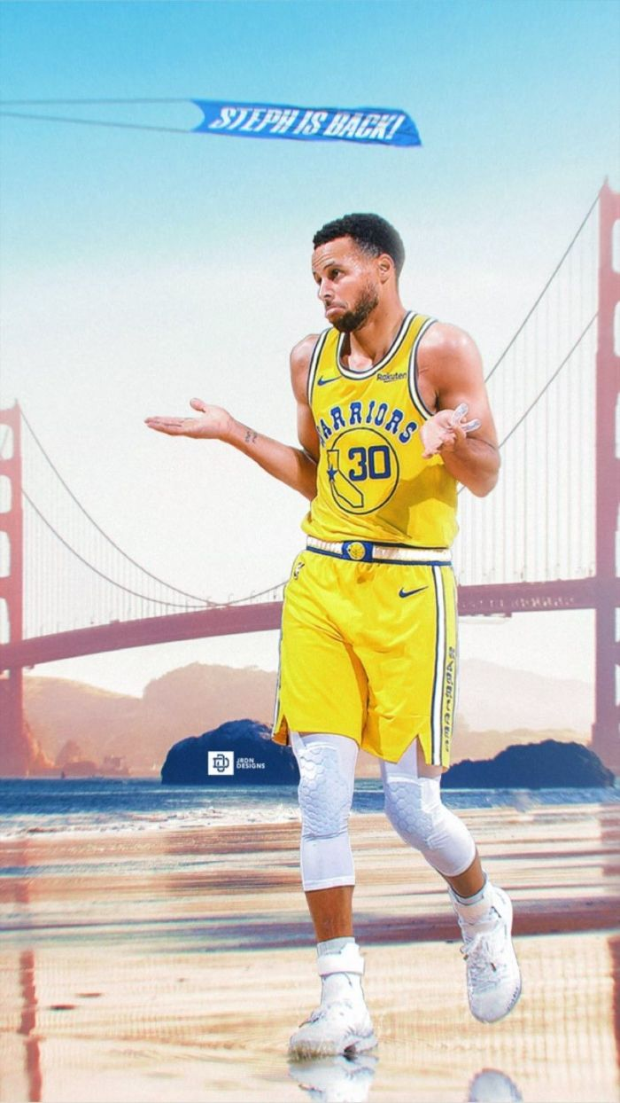 golden gate bridge in the background stephen curry wallpaper iphone steph shrugging wearing yellow warriors unifrom