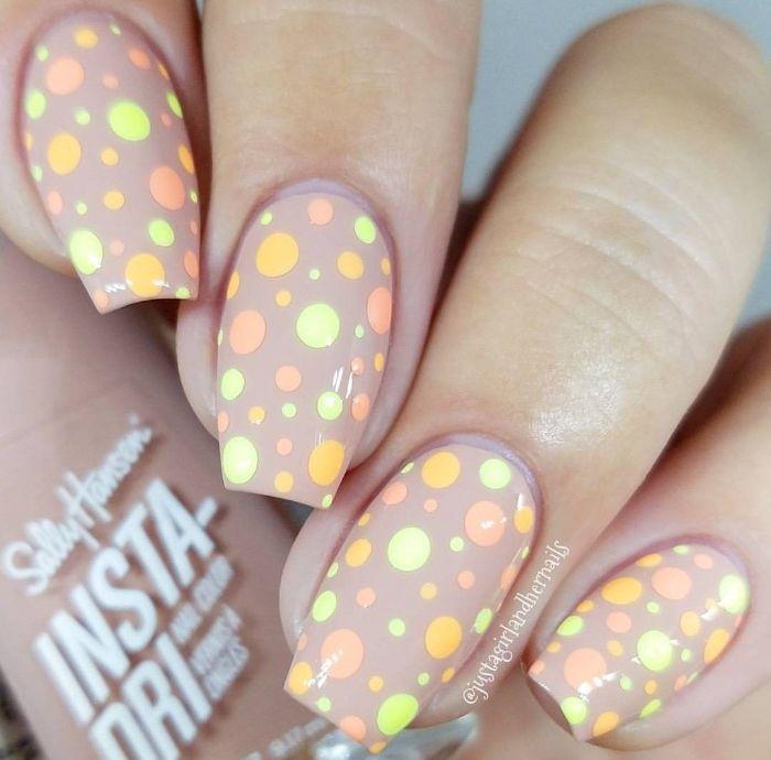 gray matter base with orange green gray dots spring nail designs medium length coffin nails