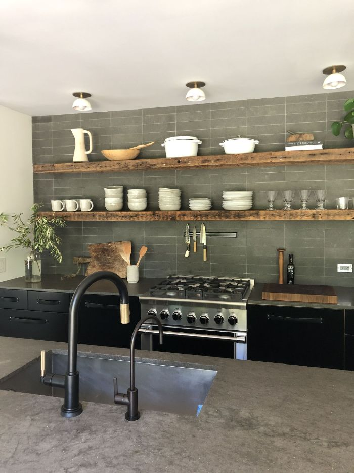 gray tiled backsplash with two wooden long shelves open shelving kitchen ideas black bottom cabinets