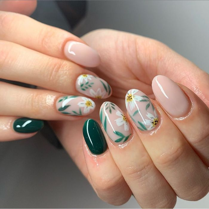 green and nude base on medium length almond nails nail designs 2021 white flowers decorations