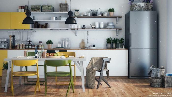 green black and yellow accents in kitchen with wood floor floating kitchen cabinets white cabinets