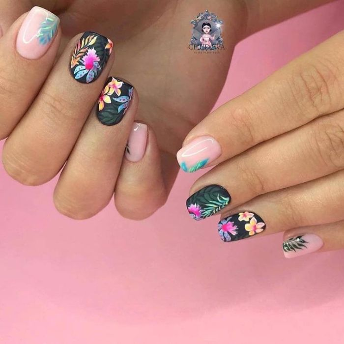 green matte base on middle and ring fingers cute nail designs flower tropical decorations