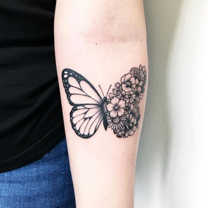 half butterfly half flowers black and white forearm tattoo butterfly and flower tattoo