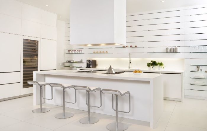 hanging kitchen shelves all white kitchen with white kitchen island countertops cabinets walls