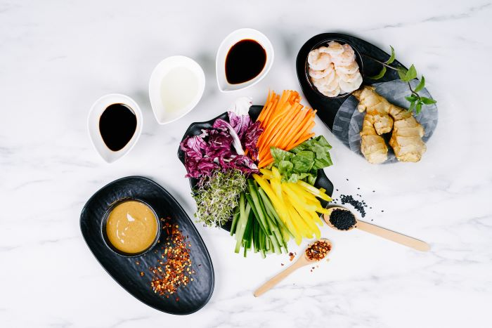 ingredients for spring rolls easy appetizers for a crowd different veggies shrimp ginger