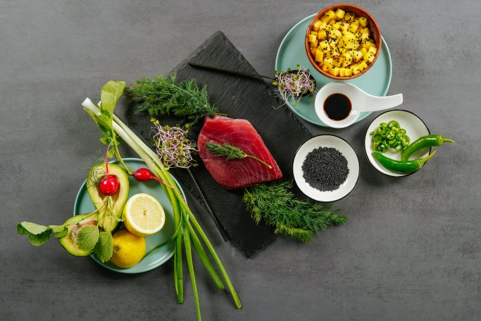 ingredients for tuna tartare recipe with mango avocado black sesame seeds appetizers for a crowd