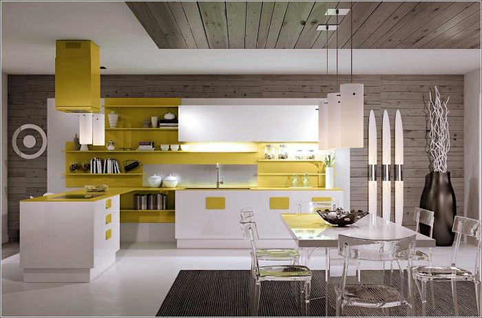 kitchen in white and yellow kitchen with shelves instead of cabinets glass dining room and chairs