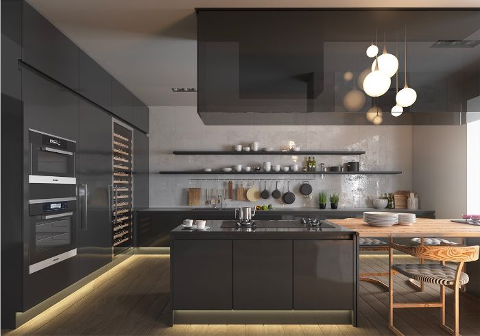 led lights under black cabinets and kitchen island floating shelves kitchen ideas white tiled backdrop