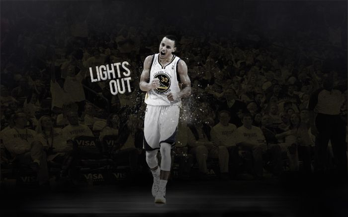 lights out written next to black and white photo of stephen curry wallpaper on the court wearing white golden state warriors uniform