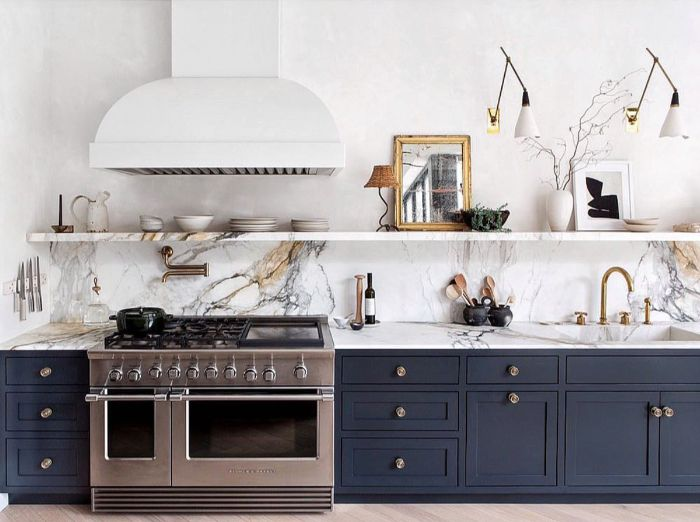 marble backdrop and shelf wood floating shelves kitchen dark blue bottom cabinets with marble countertop