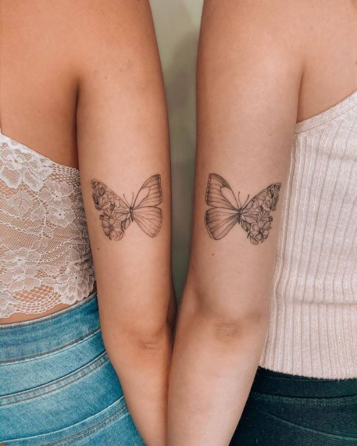 matching butterfly tattoos butterfly tattoos on shoulder half butterfly half flowers black and white