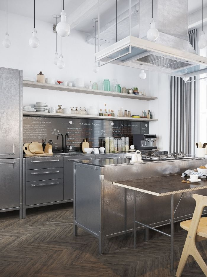 metallic cabinets kitchen island open shelving kitchen ideas wooden floor white walls and ceiling