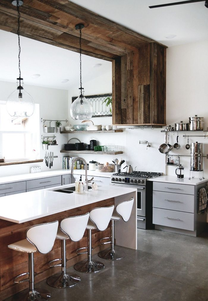 open shelving kitchen ideas wooden accents on the wall and ceiling light gray cabinets kitchen island