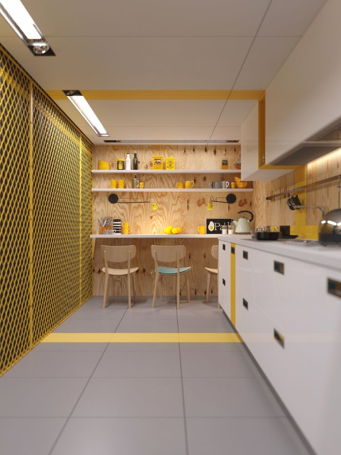 open shelving kitchen white cabinets ceiling tiled floor yellow lines and utensils wooden backdrop