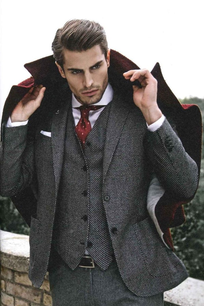 partridge eye suit worn with white shirt red tie red coat fabrics for suits by man with brown hair