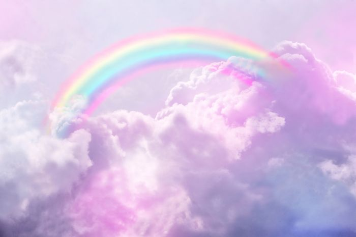 photo of white clouds and the sky above them rainbow wallpaper rainbow in the clouds
