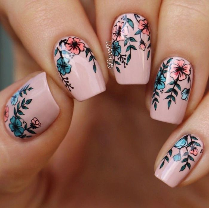 pink base on medium length squoval nails spring nail designs pink and blue flowers decorations