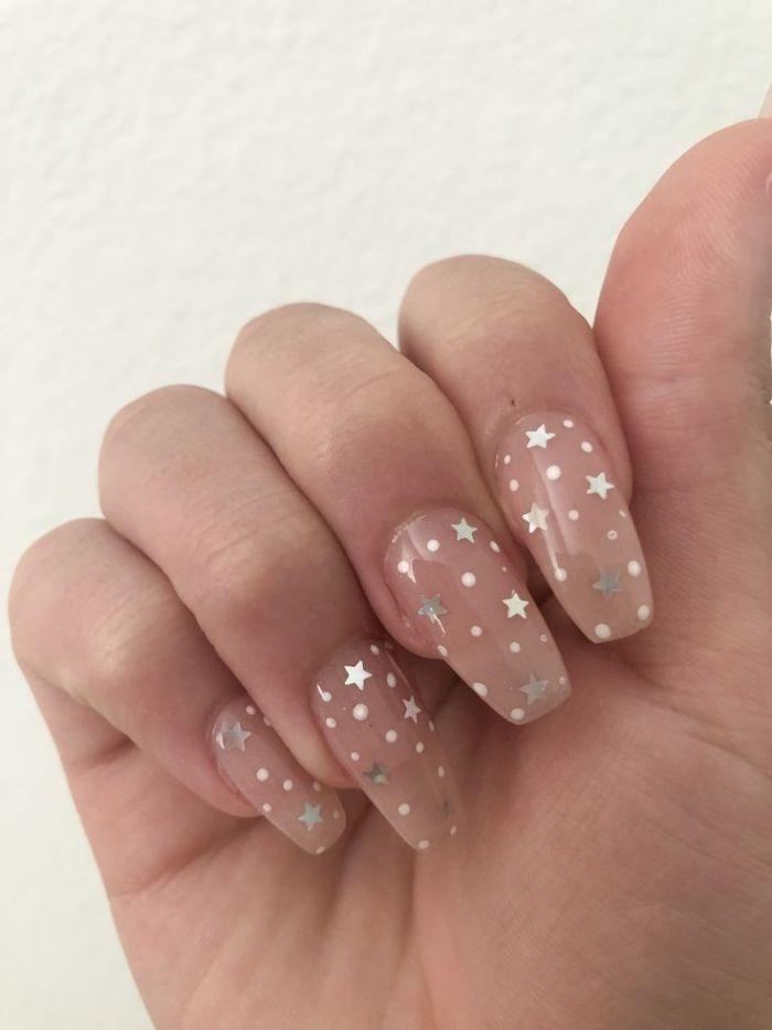 pretty nail designs brown nail polish on long coffin nails silver stars decorations