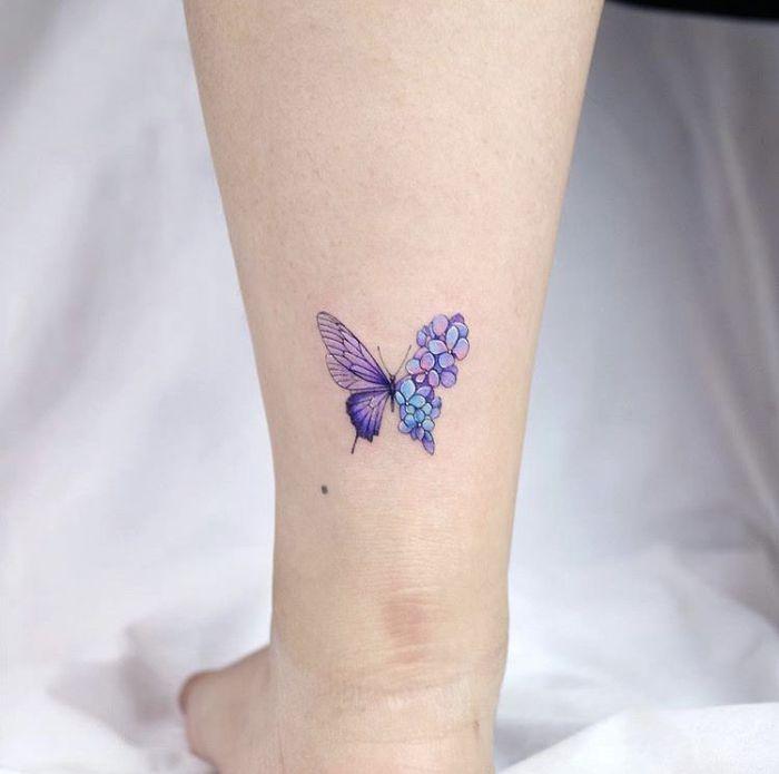 purple butterfly back of leg tattoo simple butterfly tattoo half butterfly half flowers