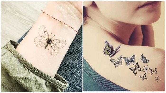 side by side photos butterfly tattoo shoulder tattoo of lots of butterflies one butterfly wrist tattoo