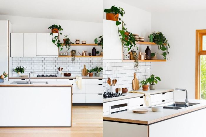 side by side photos of all white kitchen hanging kitchen shelves white subway tiles backdrop white cabinets kitchen island