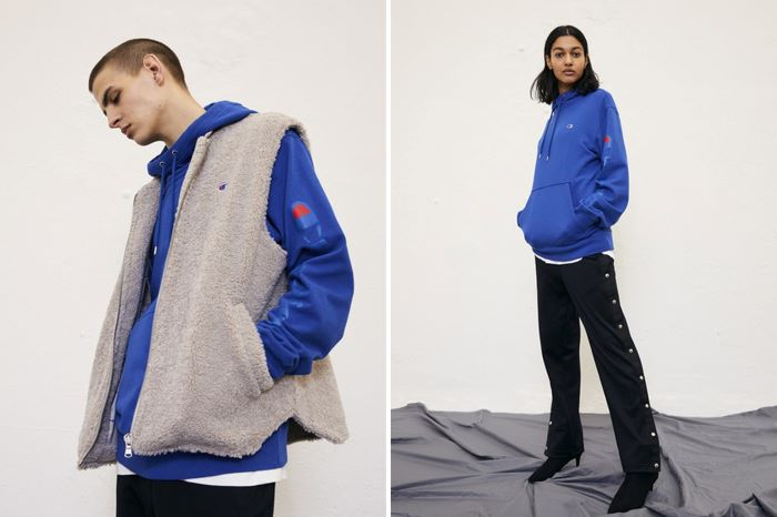 side by side photos of man and woman wearing different outfits in blue and black hip hop clothing