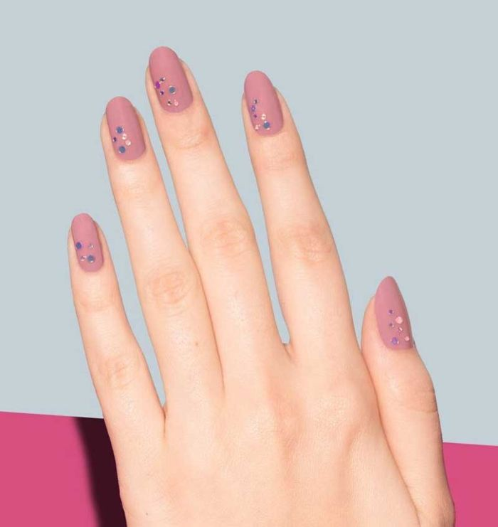 simple nail ideas dark pink matte nail polish on medium length almond nails decorations with sequins